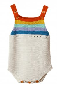 Rainbow Accent White Sleeveless Baby Romper