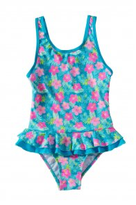 Lovely Ruffle Floral Girls' One Piece Swimsuit