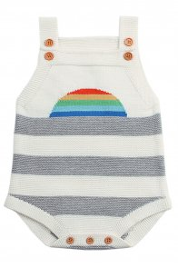 White Rainbow Pattern Knit Baby Onesies