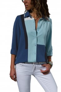 Navy Blue Color Block Long Sleeve Button Down Shirt