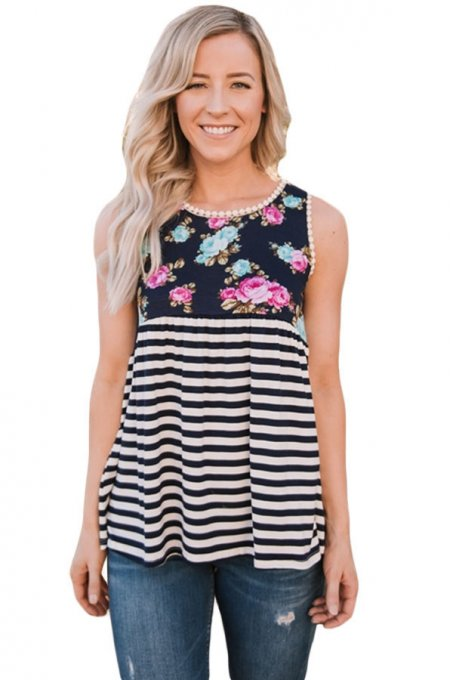 Black Stripes and Floral Womens Tank