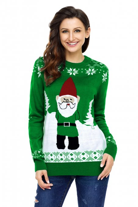 Green Santa Clause Holiday Sweater