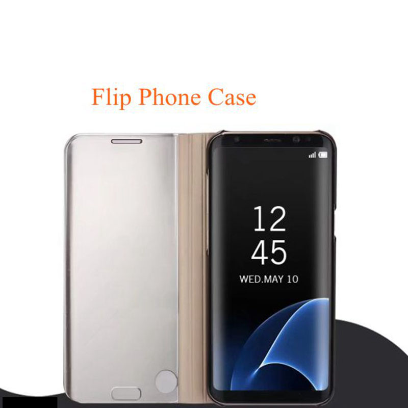reputable site 2bb98 b1731 dolmobile Smart View Phone Case for Samsung Galaxy Note 5 Note 8 Plating PC  Mirror Flip Cover Standing Phone Cases