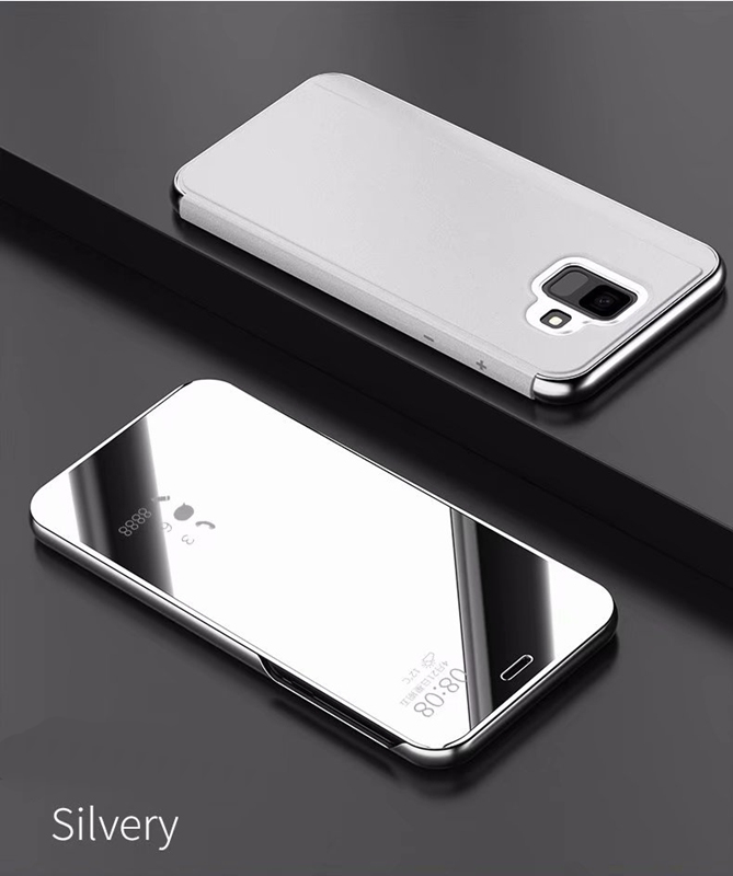 low priced 5e542 303a5 Luxury Flip Stand Clear View Smart Mirror Cover for Samsung Galaxy A6 A6  Plus Plating with Stand