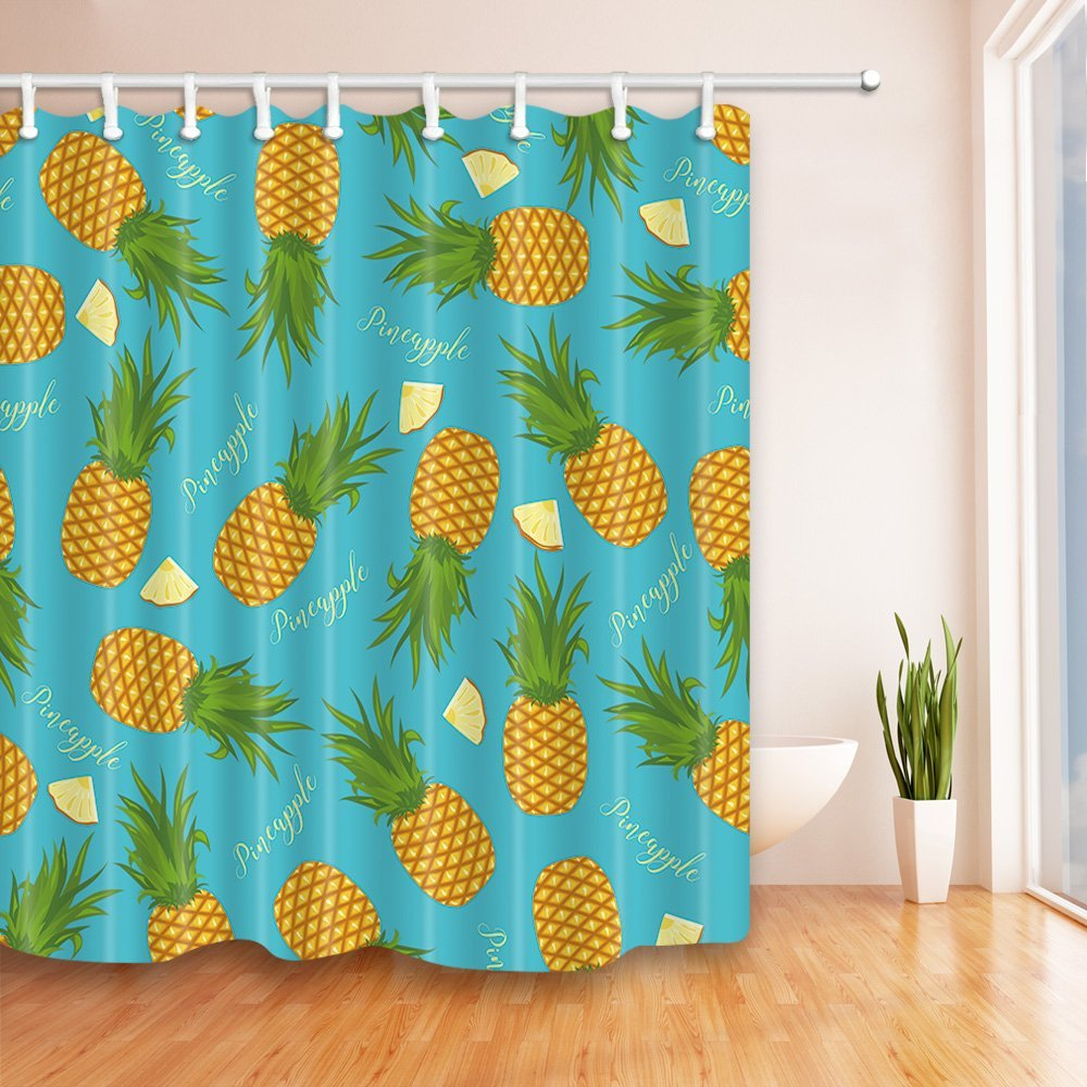 the pineapples and slices of pineapple light blue bath curtains 100 polyester fabric waterproof shower curtains set non peva hooks included 69x75