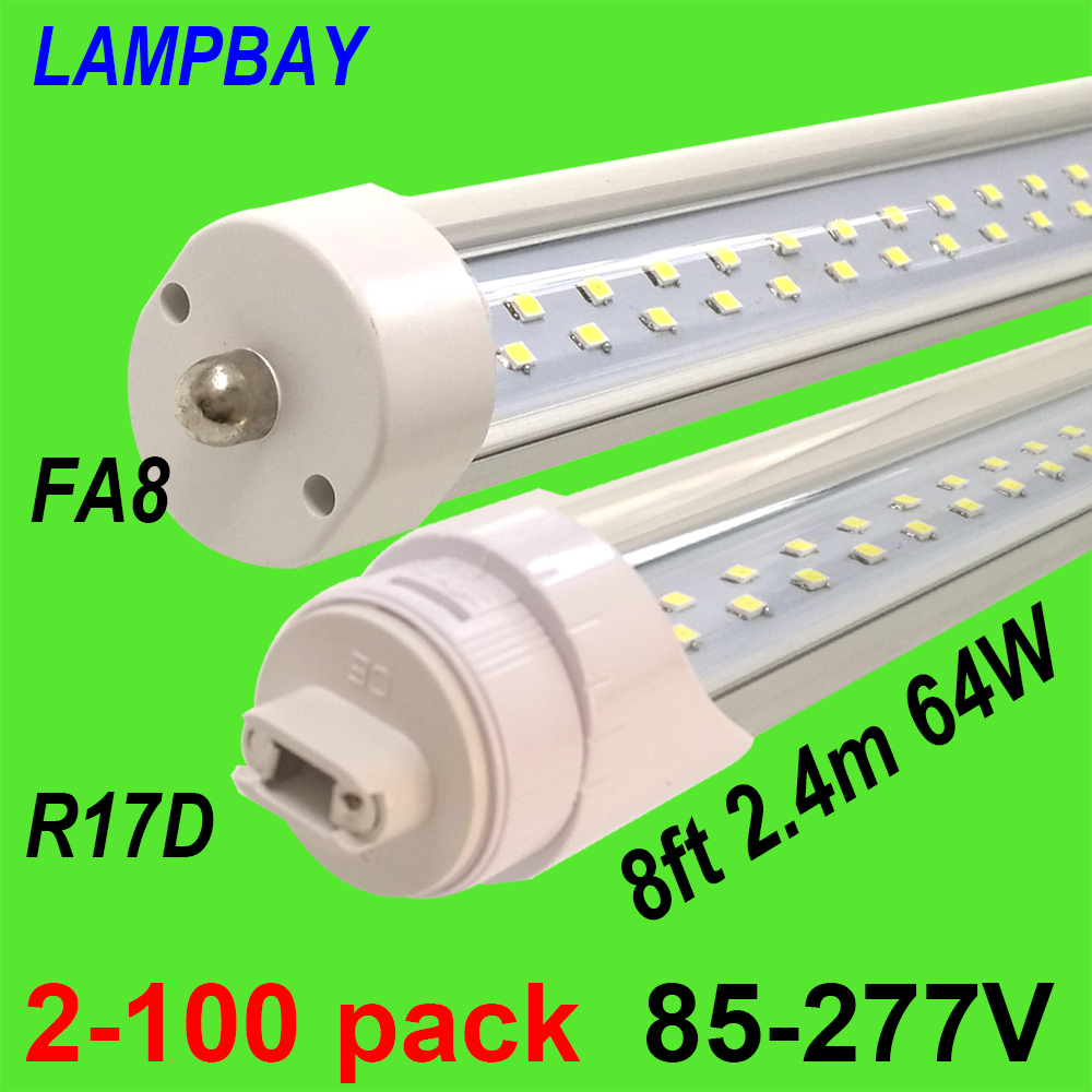 8 Ft 2 Lamp Fluorescent Strip Light White No Ssf2964wp 8ft: Twin Row LED Tube Lights 8ft 2.4m FA8 R17D Rotated HO Lamp