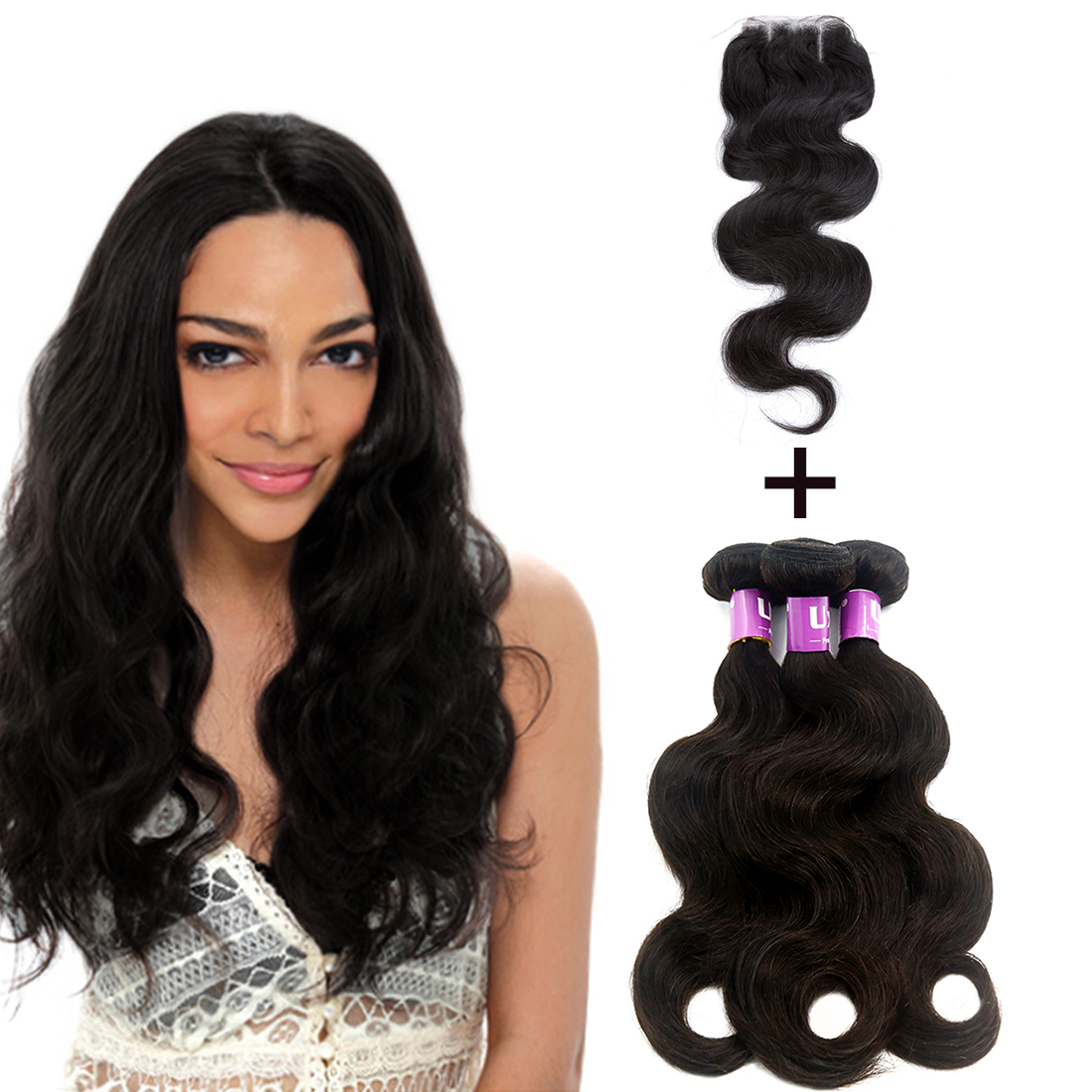 2017 New Product Indian Body Hair Weave Closure