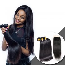 BRAZILIAN VIRGIN HAIR WITH CLOSURE STRAIGHT 3+1