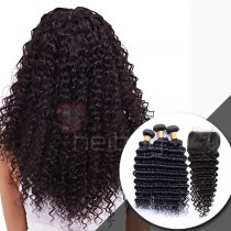 100 VIRGIN HAIR WITH CLOSURE DEEP WAVE 3+1
