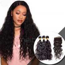 100 VIRGIN HAIR WITH CLOSURE NATURAL WAVE 3+1