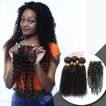 100  VIRGIN HAIR WITH CLOSURE KINKY CURL 3+1