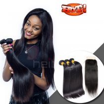 VIRGIN HAIR WITH CLOSURE STRAIGHT 3+1 (Aramex 2-3 days delivery)