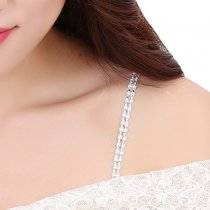 Closecret Women's Double Rows of Rhinestone Straps for Bras(Silver, 1 Pair)
