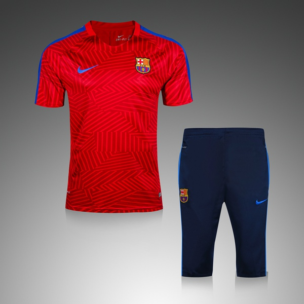 BARCA RED NIKE Maillot De Football Tracksuit 2016 2017 Survetement Football  soccer training suit short sleeve jersey middle pants TOP THAI QUALITY  Sport ... 2ca50ac0375e8