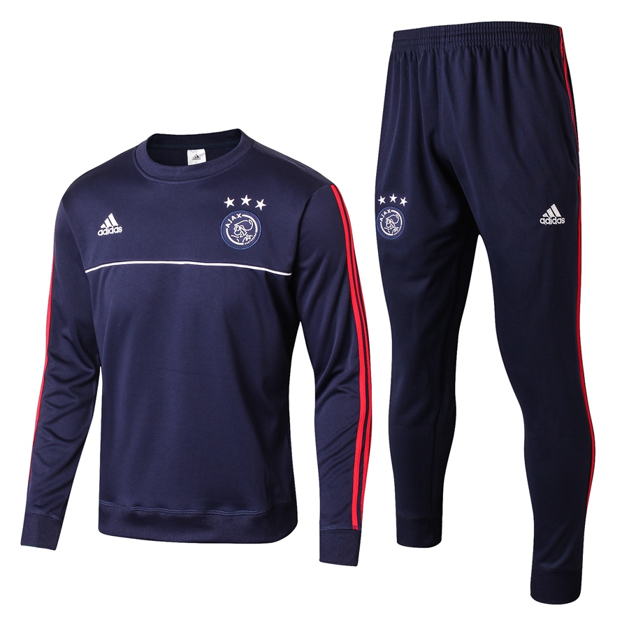 17 18 Ajax Amsterdam Navy Blue adidas Football Tracksuit Soccer Training  Suit Survetement Football Sport Jersey Jogging Pants Item NO  678228 7640166e44ec2