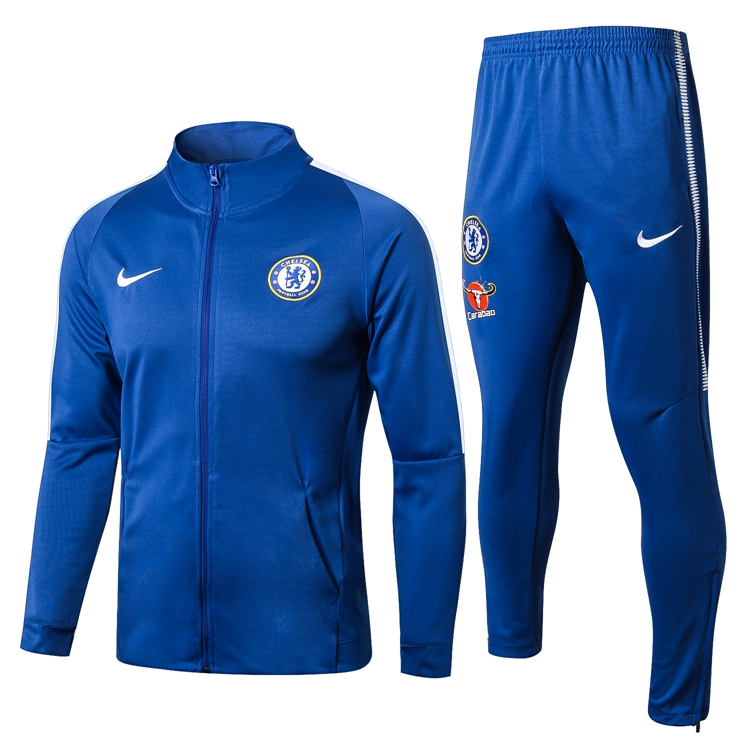 2018 19 Chelsea zipper Jacket Football Tracksuit Training Suit high colloar  BLUE adidas Soccer Jersey Jogging Pants Maillot de Foot 3fb41efc6e57