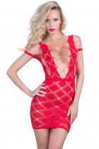Red Twinkling Diamond Deep-V Mini Chemise Dress