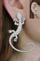Silver Punk Diamond-Studded Lizard Ear Clip