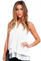 White Double Cascading Ruffle Neck Tie Sleeveless Top