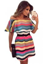 Colorful Stripes Ruffle Off Shoulder Skater Dress
