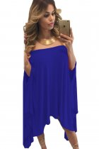 Blue Strapless Asymmetric Drape Club Dress