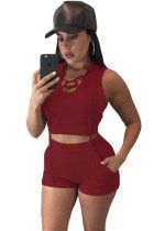 Wine Hooded Crop Top and Short Set