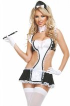 Black White Sexy Apron Maid Costume