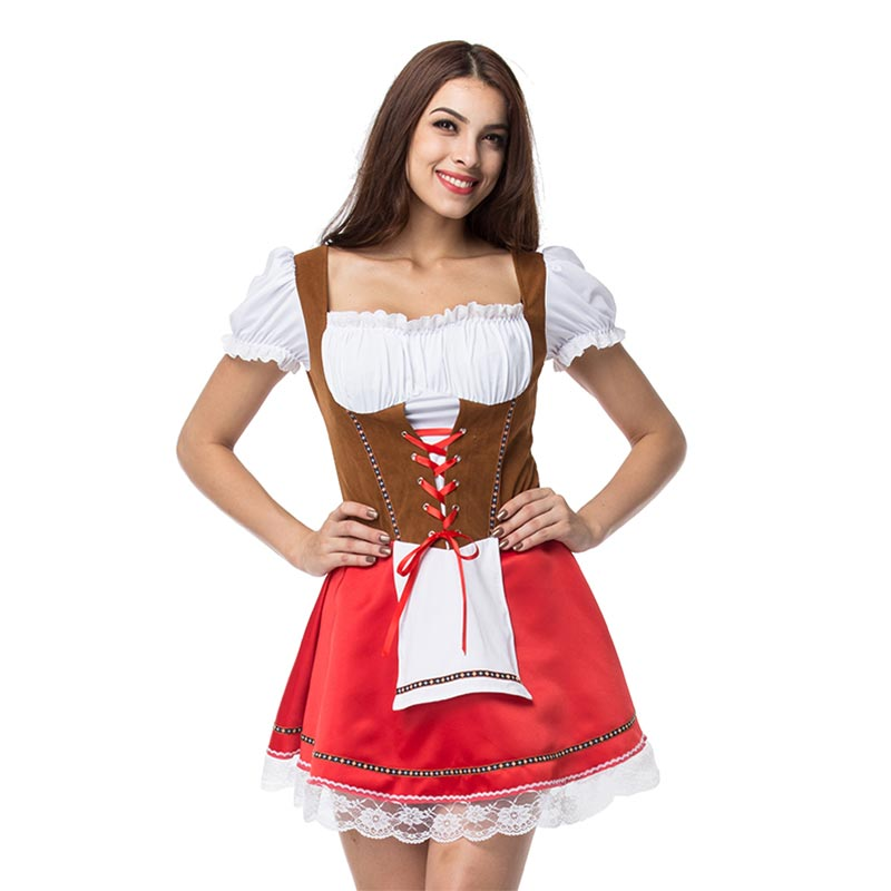 627f59940903 Plus Size Oktoberfest Beer Girl Costume Sexy German Dirndl Dress Maid Fancy  Outfits Cosplay Halloween Costumes For Women Adult