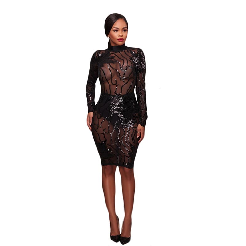 2993d44edf81 Caleb Black Sequins Semi-Sheer Open Back Dress,Caleb Black Sequins Semi-Sheer  Open Back Bodycon Dress