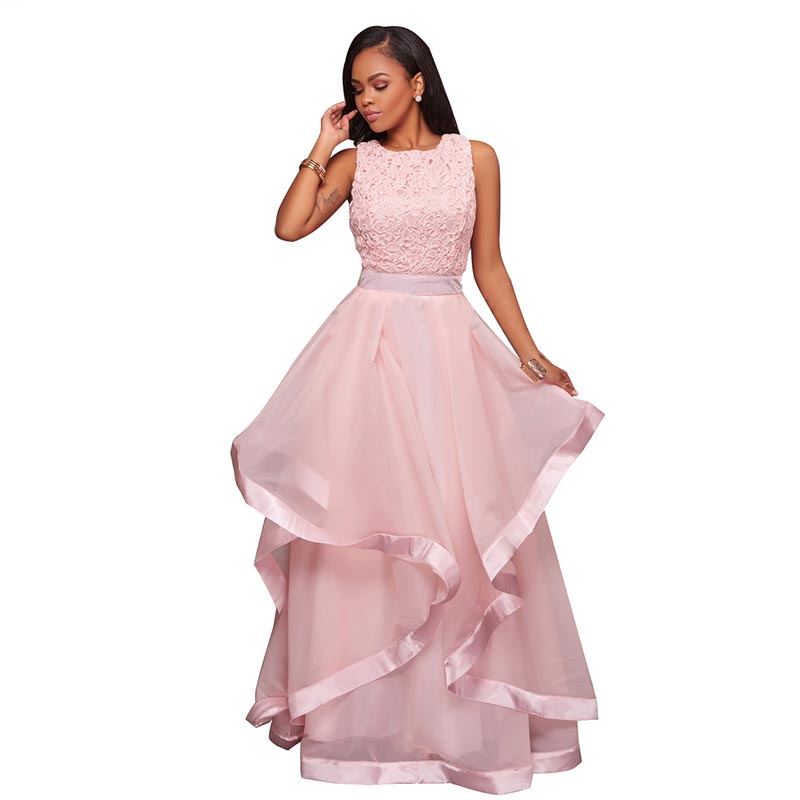 Malissa Peach Pink Ruffled Skirt Maxi Dress,Plus Size Malissa Peach ...