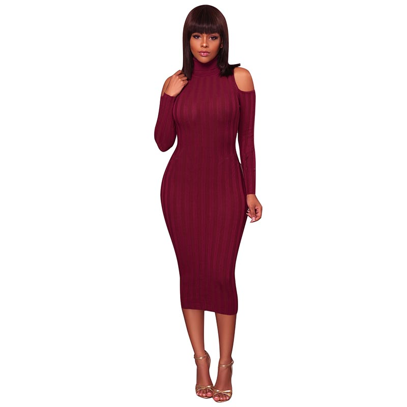 1c8b6705b14 Carol Burgundy Cut Out Shoulders Ribbed Midi Dress