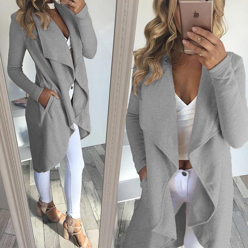 9bd9181f139ef Womens Lapel Irregular Long Sleeves Sweater Jacket Solid Open Front  Cardigans Coat. Loading zoom