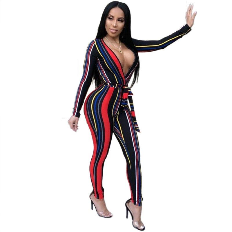 1eae63f32665 Colorful Sexy Strippes Deep-V Jumpsuit. Loading zoom