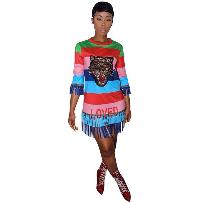 c2ebf44f Colorful Stripped Sequins Fringe Tiger Shirt Dress