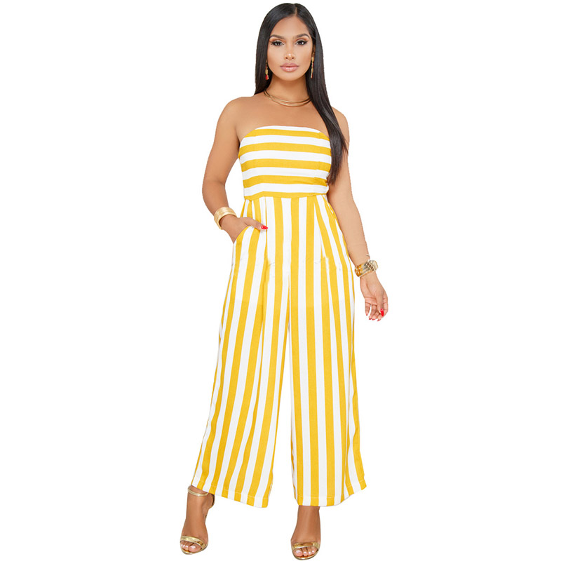 c063a5e945 Mabel Mustard Striped Strapless Jumpsuit