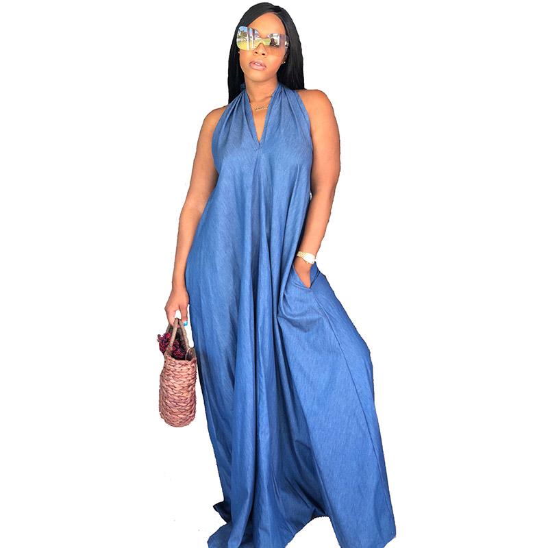 "The ""Denim Jean"" Overload Halter Dress"