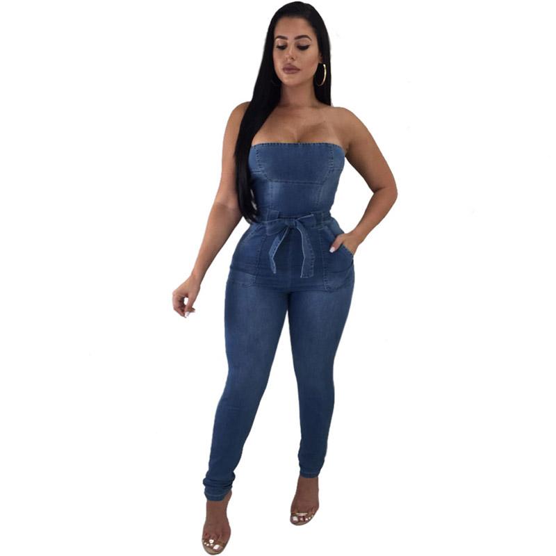 f7274a1162f Women Strapless Denim Jumpsuit