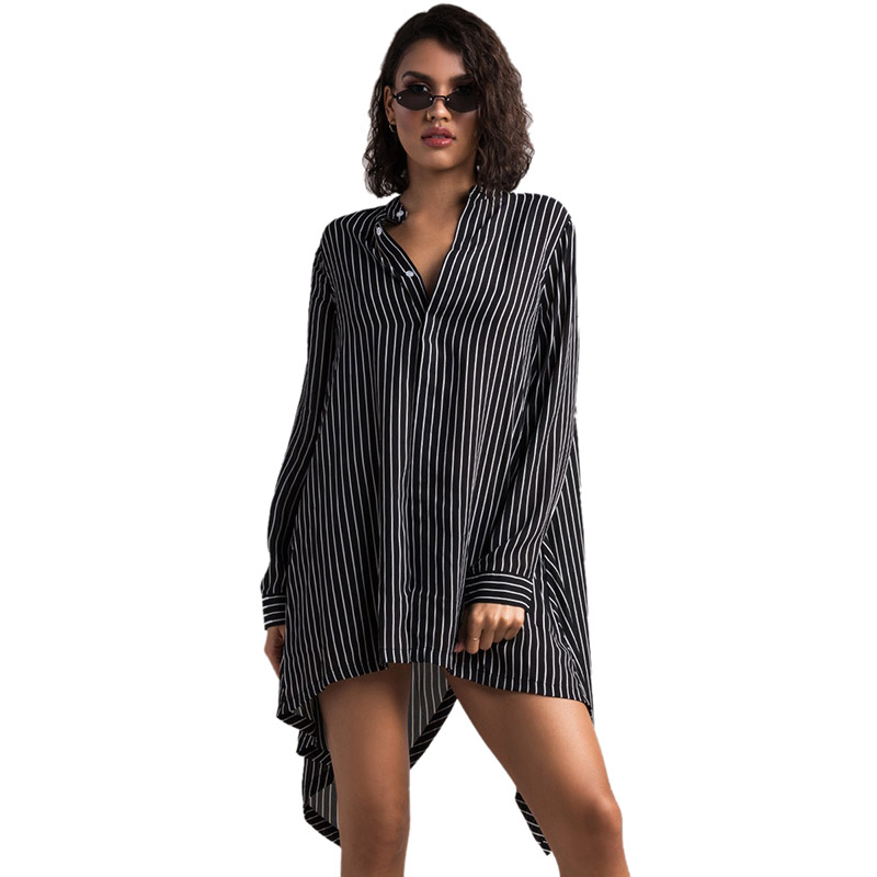 159bb9fd18 Lightweight Button Down Long Sleeve Striped Collarless Shirt Dress
