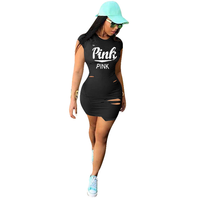 13643b7cf7a0 Women s O Neck Short Sleeve Ripped T Shirt Dress