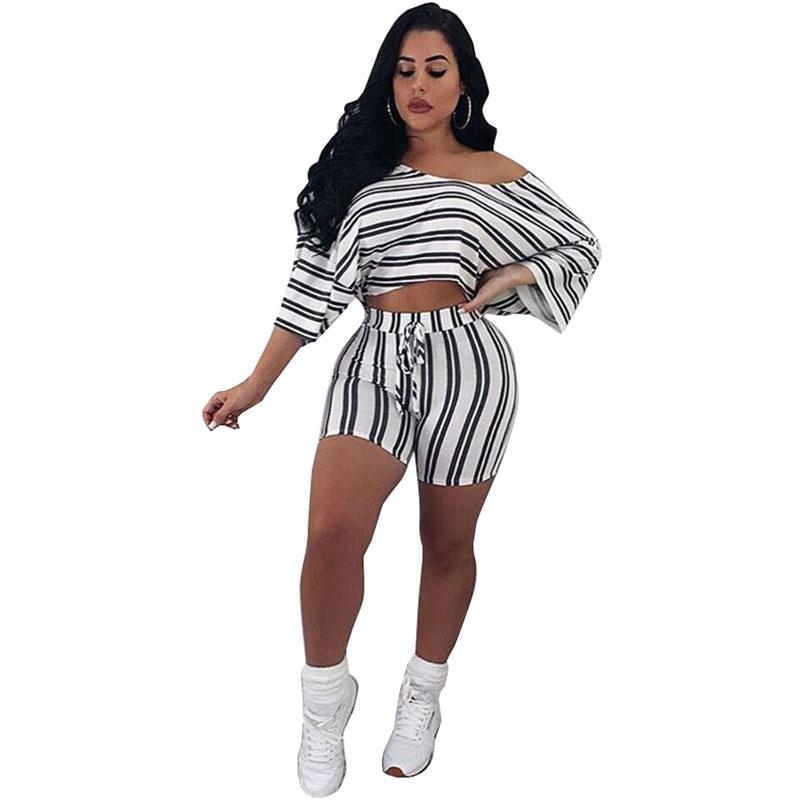 adaedd49f18b8 Casual Striped White Two-piece Shorts Set