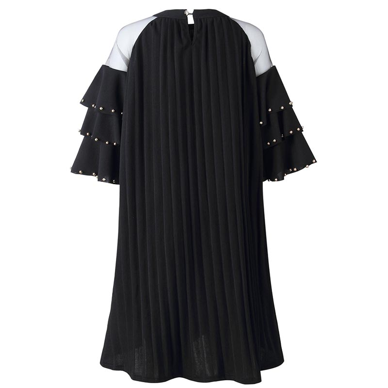 bcac9e91125 Fat Women A-Line Pleated Dress with Mesh Layered Sleeve