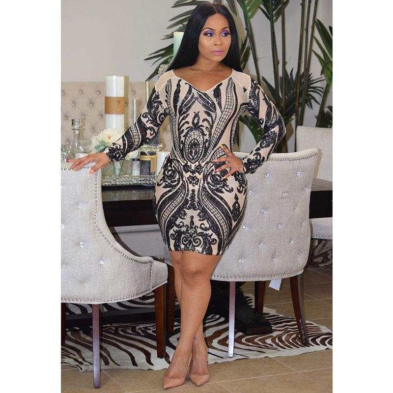 e808355f8a05 Long SLeeve V Neck Sequins Bodycon Dress