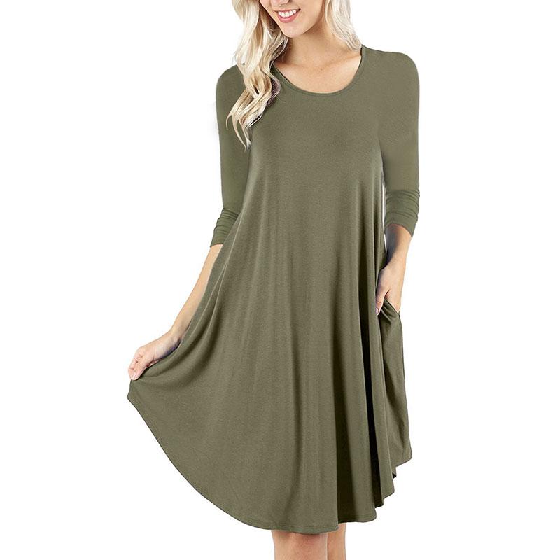ed4159344cb5 Women s Casual Loose Long Sleeve Plain Swing Dresses