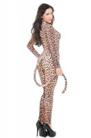 Sexy Leopard Print Cat Animal Leotard Sheer Front Hot Adult Hall