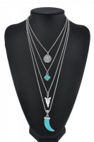 Women's Turquoise Pendant 4 Layers Necklace Silver Chain Hippie