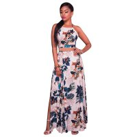 Beige Backless Floral Maxi Two Piece Set 28229