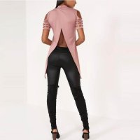 Hollow Out Back Split Slim Casual Tops 578-1