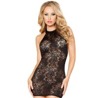Sheer Floral Lace Mini Dress