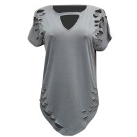 Womens Plus Size Ripped Cut Out Plain Short Sleeve T Shirt Grey