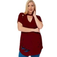 Womens Plus Size Ripped Cut Out Plain Short Sleeve T Shirt Wine Red